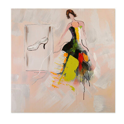 Pretty Girl Abstract Hand Painted Canvas Oil Painting Wall Art Home Decor Framed