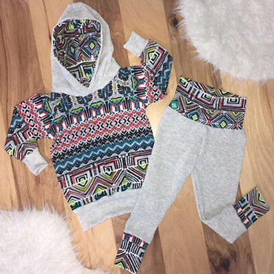 US Stock 2pcs Toddler Baby Boy Girl Hooded Sweater Top+Pants Outfits Set Clothes