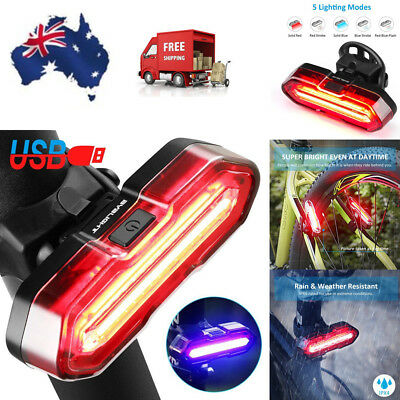 LED Bicycle Bike Cycling Front Rear Tail Light USB Rechargeable 5 Modes Lamp AU