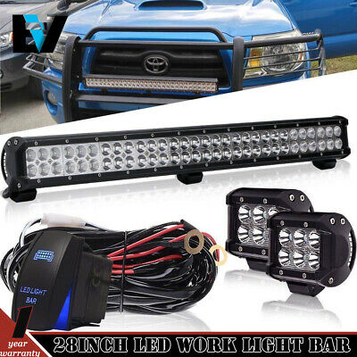 28'' LED Light Bar Combo+Pods+Wire FOR Polaris RZR 170 570 800 900 1000 XP