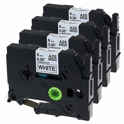 """Black on White Label Tapes Compatible for Brother TZe-221 P-Touch 9mm 3/8"""" 4PK"""