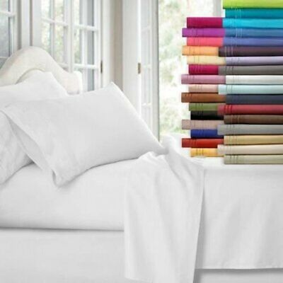 1000TC Ultra Soft Flat &Fitted Bed Sheet Set(4 Pieces) Double/Queen/King Size AU