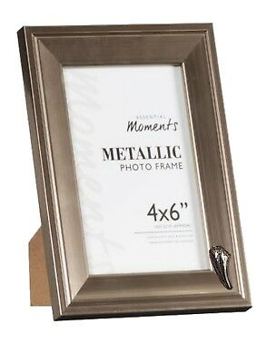 T-Rex Tooth Pewter Emblem on PICTURE FRAME SILVER 6X4 Hang/Stand codeK51