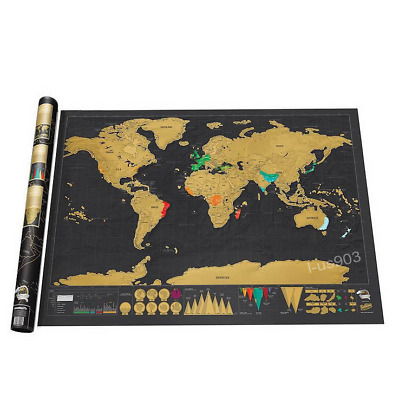 Large World Map Journal Creative Deluxe Travel Edition Scratch Poster with Box