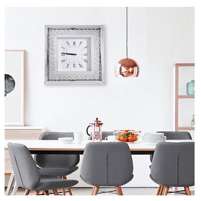 Modern Square Mirrored Wall Clock Floating Crystals Bevelled 50x50cm