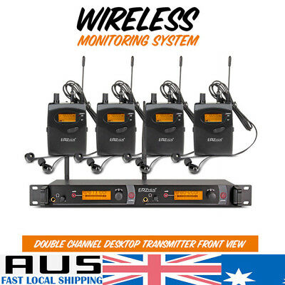 In Ear Wireless Monitor System For Stage Performance Receiver + 4 Transmitter