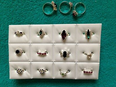 JOBLOT- 12 kids rings of 10 styles crystal/colour diamante. Silver plated.