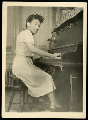 Black African American Lady Playing Piano Antique Photo