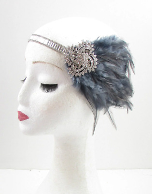 Dark Grey Silver Feather Headpiece 1920s Headband Flapper Great Gatsby Deco 614