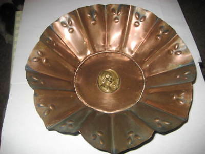 Antique Arts & Crafts Solid Copper Wall Hanging Large Charger Hand Made.