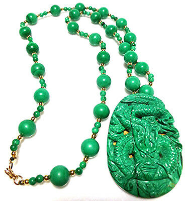 Chinese Export Carved Dragon Malachite Gold Filled Bead Beaded Large Necklace