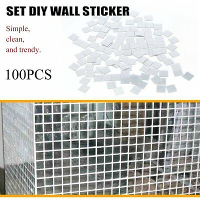100 pcs Mirror Tile Wall Sticker 3D Decal Mosaic Room Decor Stick On