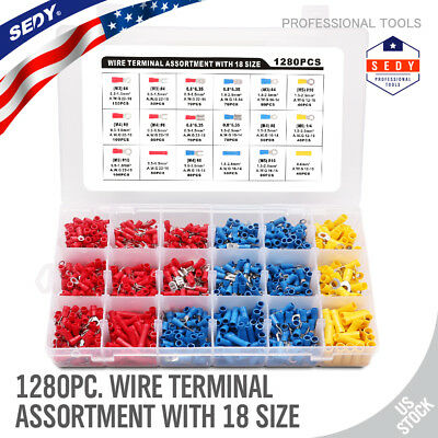 1280pc Wire Terminal Crimp Connectors Insulated Assortment Electrical 18 Sizes