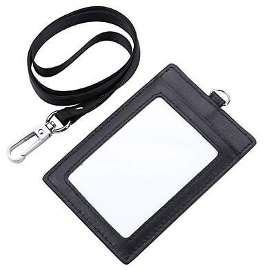 Genuine Leather 2-Sided ID Badge Holder with Lanyard, Card Holder Wallet