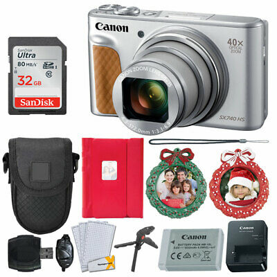 Canon PowerShot SX740 HS Digital Camera (Silver) + 32GB Card + Holiday Frames