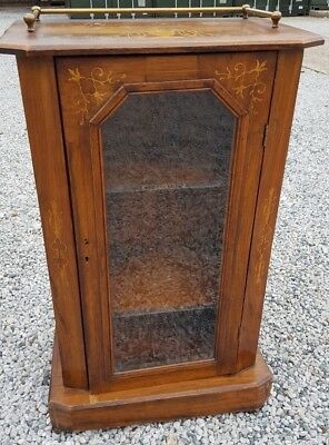 Antique walnut Glass Front Pot Cupboard with Brass Fitments to Top