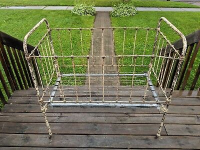 Rare Vintage Antique 19th Century Wrought Iron Steel 5-piece Baby Crib Bed