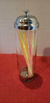 "Glass round Straw Holder Dispenser Soda Fountain Style Retro-Chrome Top 9"" Tall"