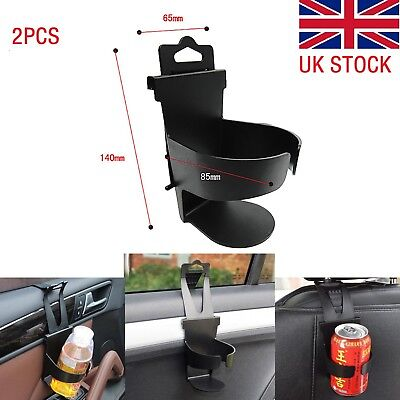 2x Universal Car Truck Drink Water Cup Bottle Can Holder Door Mount Stand Black