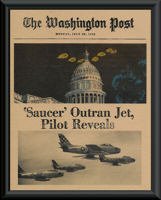 1952 UFO Washington DC Fantasy Newspaper Cover Printed On 65 Year Old Paper P154