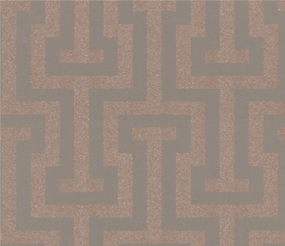Rasch Greek Key Rose Gold & Brown Sparkling Glitter Geometric Wallpaper 523911