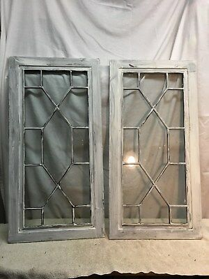 2 ARCHITECTURAL SALVAGE ANTIQUE  SHABBY CABINET DOORS Decorative Glass 33x 16.5