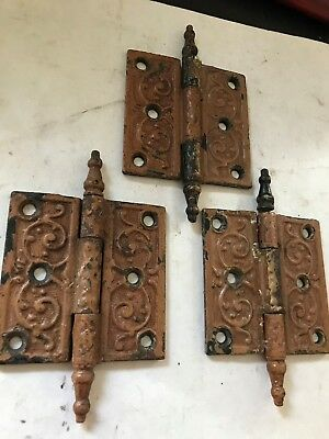 "3 Shabby Antique Eastlake Victorian 3 1/2"" Cast Iron Steeple Top Tip Pin Hinges"
