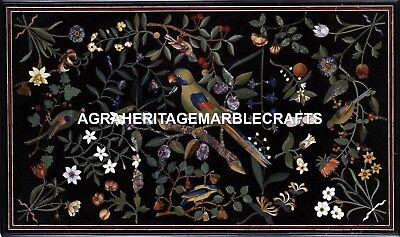 Marble Dining Table Top Rare Parrot Mosaic Inlaid Marquetry Garden Decor H1721