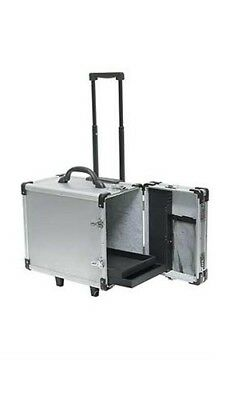 Rolling Aluminum Travel Salesman Jewelry Carrying Case with 12 Trays