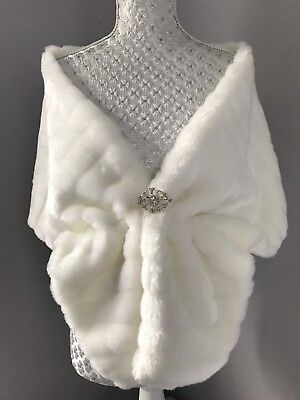 Ivory Faux Fur MINK Cape Shrug Stole Bolero Jacket Shawl  Wrap Wedding Bridal