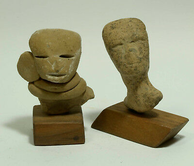 Pre Columbian Teotihuacan Pottery Heads (2) Ca. 500AD   RARE TYPES