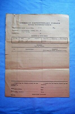 WWI Era Motor Transport Corps Transfer Document for Indian Motorcycles (A)