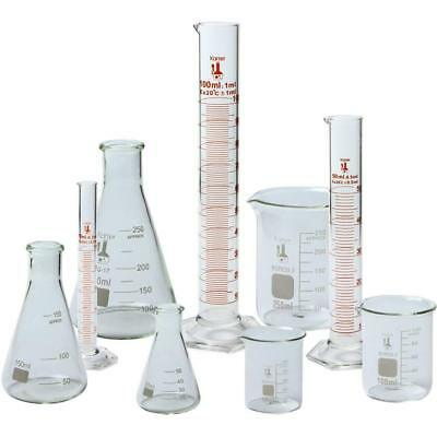 Beaker, Flask, and Cylinder Set, 3.3 Boro. Glass - 9 Pieces, Karter Scientific