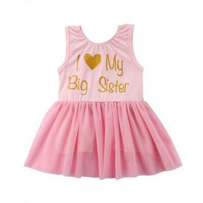 S-049 BIG/Little Sister Matching Pink Lace Tulle Dresses 6M-4T (Free Shipping)