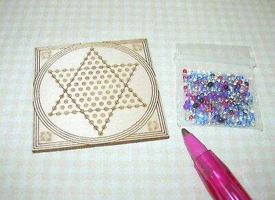 """Miniature Laser-Cut Chinese Checkers 1 1/2"""" x 1 1/2"""" w/""""Marbles"""": DOLLHOUSE 1/12"""
