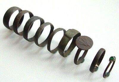 Lot of 9 Ancient Old Bronze Rings M