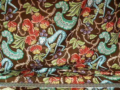 Clarence House Olana Monkey Tropical Print Linen Brown #1384