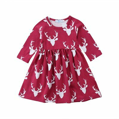 S-057 Girl's Fuchsia Deer Print Long Sleeve Dress Size 3-7T (Free Shipping)