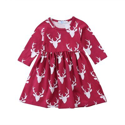 S-057 Girl's Red Deer Print Long Sleeve Dress Size 3-7T (Free Shipping)