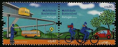 Bicycles Buses Trams Cars Segway se-tenant pair of stamps mnh Portugal 2015