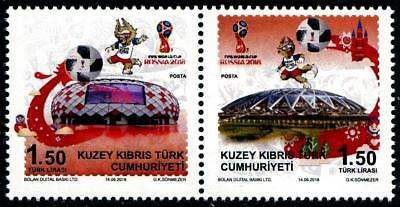World Cup Soccer Russia 2018 mnh se-tenant pair Turkish Rep N Cyprus FIFA