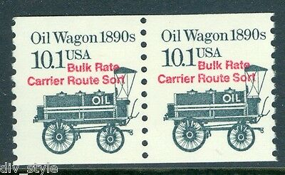 1890's Oil Wagon 10.1¢ mnh coil pair USA #2130a transportation series 1985