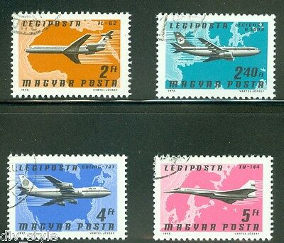 Airliners Boeing 747 set of 4 airmail stamps Hungary 1977 CTO Airbus 300B