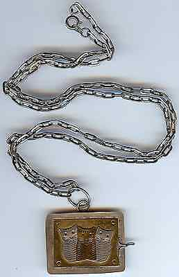 Cutest Vintage Silver Tone & Brass Three Cats Case Pendant On Chain Necklace