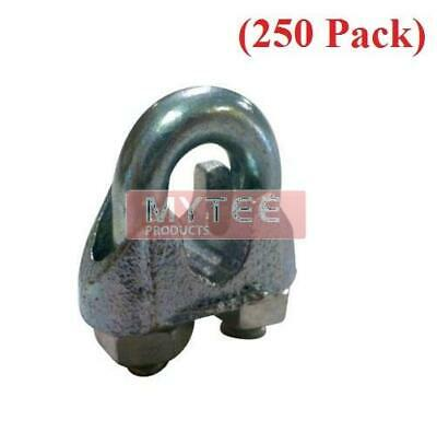 "(250 Pack) Malleable Wire Rope Clips 1/4"", Wire Rope Turn Back 7.00"""