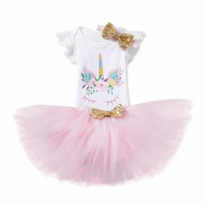 S-070 Baby Girl's Unicorn Top Skirt Headband 3PCS Outfit Set 12M (Free Shipping)