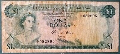 BAHAMAS, THE CENTRAL BANK 1 DOLLAR NOTE FROM 1974, P 35 b, SIGNATURE: ALLEN