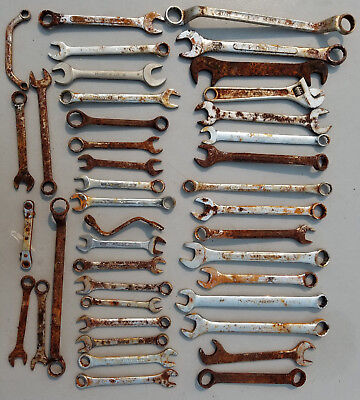 Lot of 40 Assorted Mixed Combination Wrenches & Open End Wrenches Hand Tools