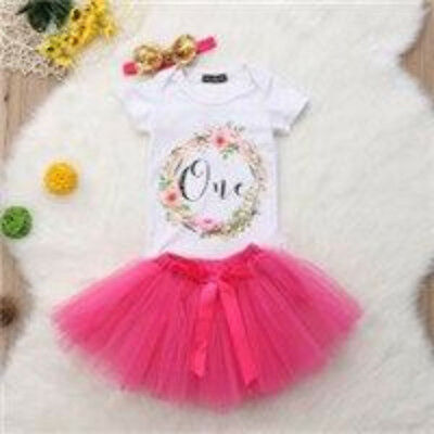 """S-076 Infant Girl's Pink 3PC """"One""""  Outfit Size 12M only (Free Shipping)"""