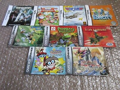 Lot of 9 Nintendo DS and Gameboy Advance Manuals Sim City, Frogger, Yu-Gi-Oh!